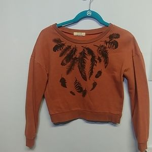 Forever 21 Orange Crop Sweater Black Feathers